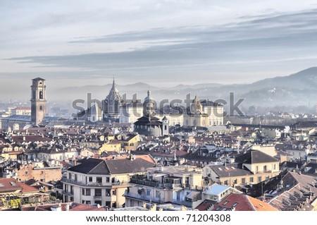 City of Turin (Torino) skyline panorama birdeye seen from above - HDR (High Dynamic Range) - stock photo