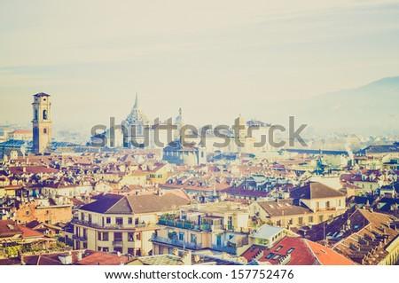 City of Turin (Torino) skyline panorama birdeye seen from above vintage looking - stock photo
