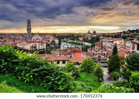 City of Verona with river at the sunset. Italy  - stock photo