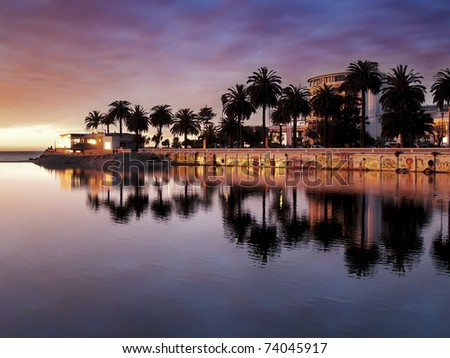 City of Vina del Mar (Chile) reflecting on the river Marga Marga at dusk - stock photo