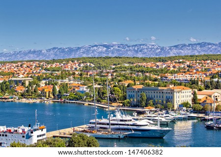 City of Zadar harbor and Velebit mountain, Dalmatia, Croatia - stock photo