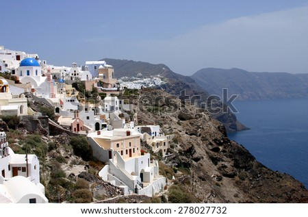 City on a mountain rock the sea - stock photo