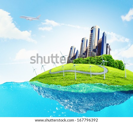 City on island floating in water. Global warming - stock photo
