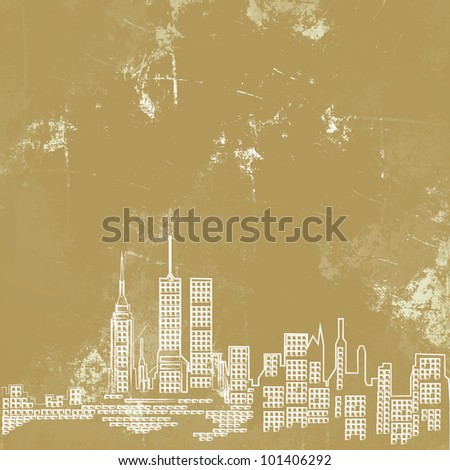 City on old paper background
