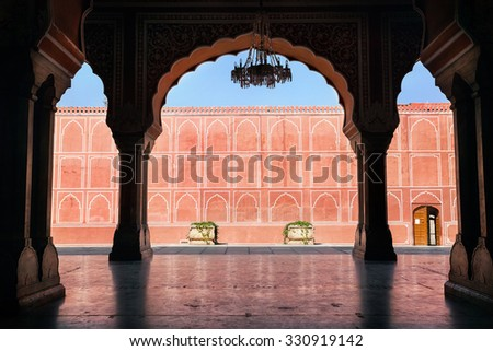 City Palace museum in Jaipur, Rajasthan, India - stock photo