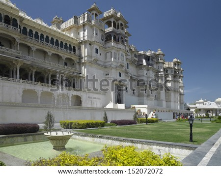 City Palace (Rajya Angan Chowk) in the city of Udaipur in Rajasthan in western India. - stock photo