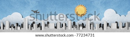 city panorama silhouettes recycled paper craft  stick on recycled paper background - stock photo