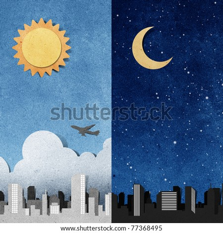 city panorama silhouettes recycled paper craft stick on white background - stock photo