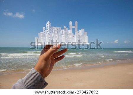 City paper model, Construction project. - stock photo
