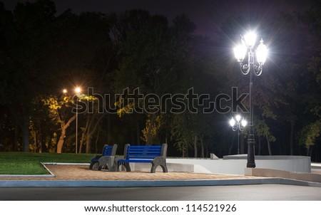 City park at night - stock photo