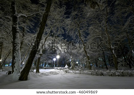 City park at night after a strong snowfall - stock photo