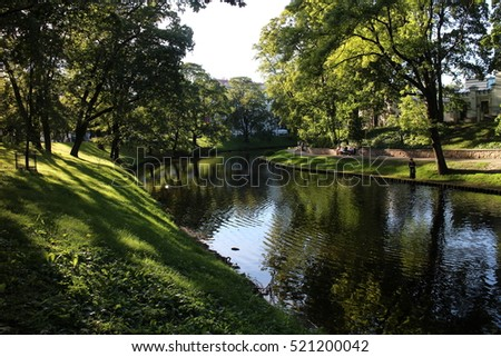 City park in Old Town of Riga, Latvia