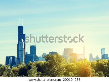 City Park With Chicago Skyline in Background  - stock photo