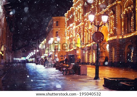 city ??pedestrian street night city lights - stock photo