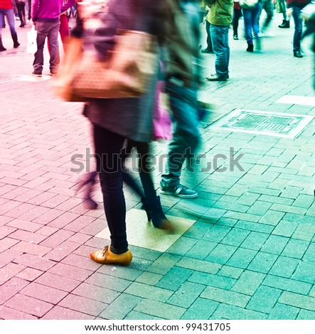city people crowd abstract background blur action
