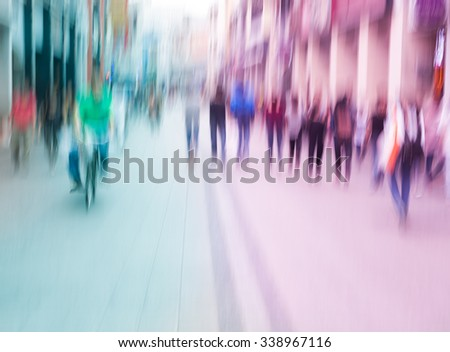 city people walking in the commercial street, color blurred motion  - stock photo