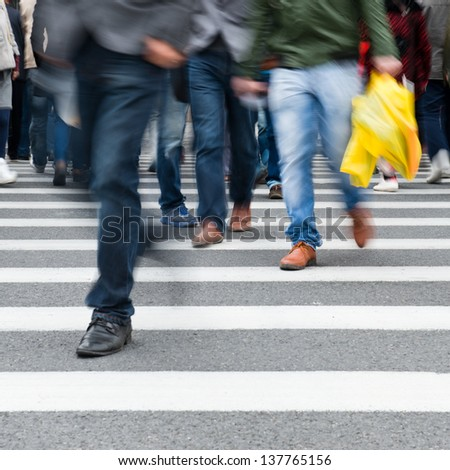 city people walking on big city street. blur motion - stock photo