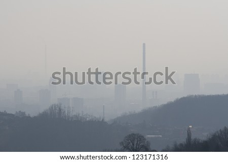 City pollution - stock photo