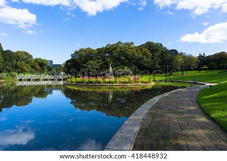City pond and fountain at daytime, Sydney University park