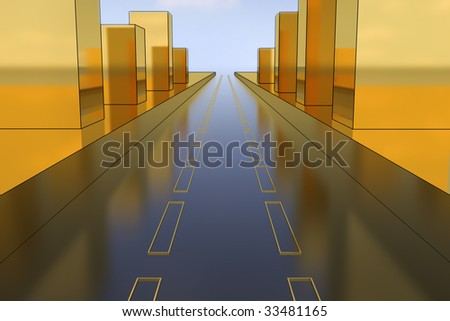 City road. Golden edition. Hi-res digitally generated image. - stock photo