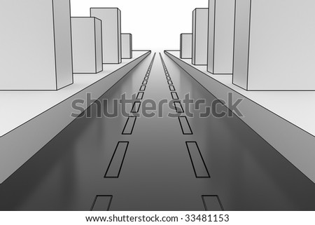 City road. Hi-res digitally generated image. - stock photo