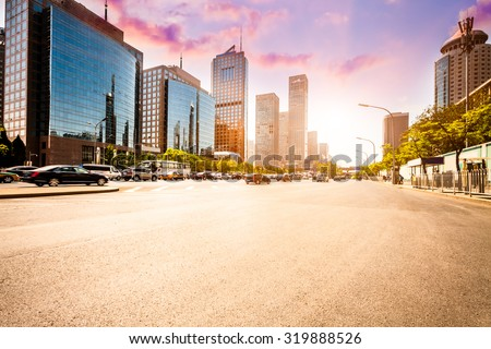 city road on sunset in Beijing. - stock photo