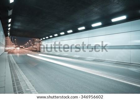 City road tunnel of night scene - stock photo