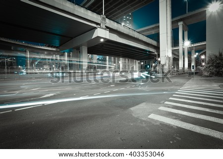 City road viaduct streetscape of night scene in shanghai