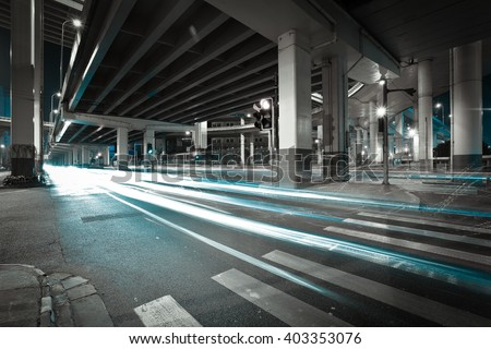 City road viaduct streetscape of night scene in shanghai - stock photo