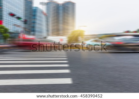 City road with moving traffic,shanghai china. - stock photo
