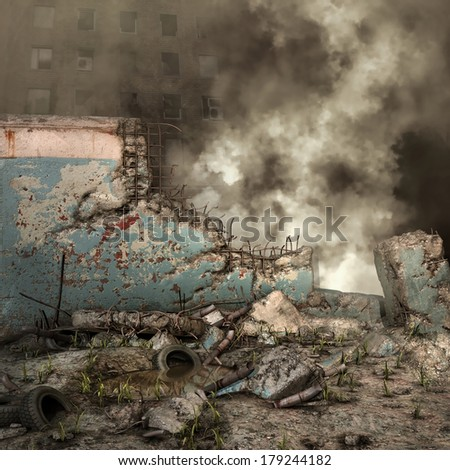 City ruins and rubble with smoke