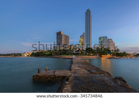City Scape and sea at dust in Pattaya city thailand - stock photo