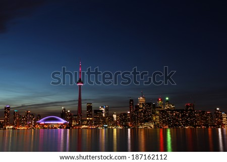 City scape at night of Toronto, Canada