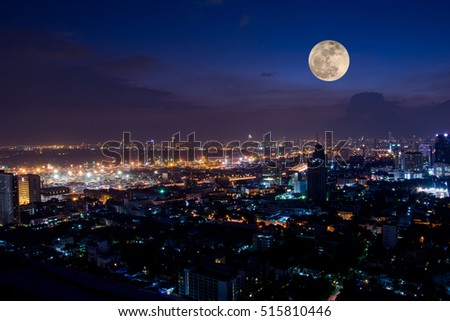 phoenix arizona skyline night full moon stock photo 242363710 shutterstock. Black Bedroom Furniture Sets. Home Design Ideas