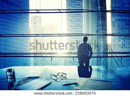 City Scape Businessman Thinking Concepts - stock photo