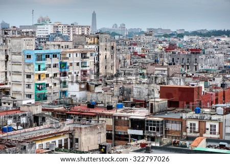City scape of Havana capitol of Cuba, panoramic view - stock photo