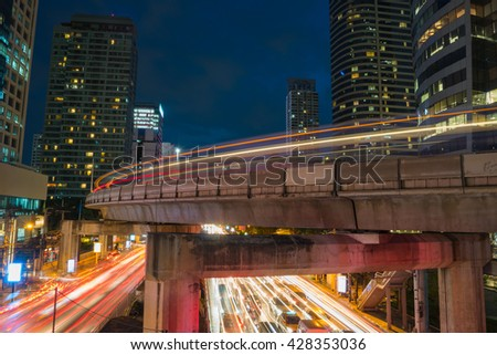 City scape of Silom town in Bangkok Thailand twilight scene in traffic jam