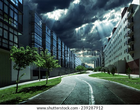 City scene at night.Ecological modern achitecture. - stock photo
