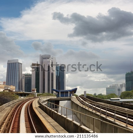 City scenery with buildings and rail in Kuala Lumpur, Malaysia, Asia. - stock photo
