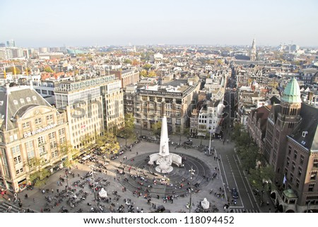 City scenic from Amsterdam with the Dam in the Netherlands - stock photo