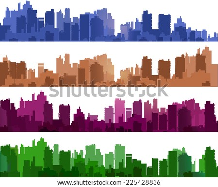 City silhouettes of different colors on white - stock photo