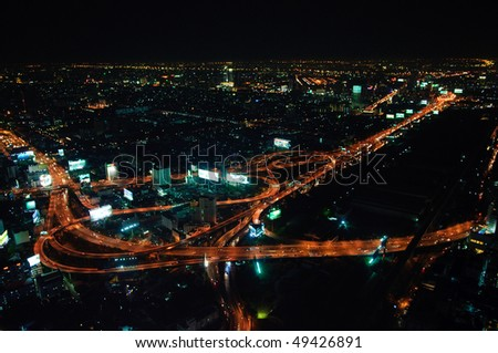 City skyline at night. Bangkok Thailand - stock photo