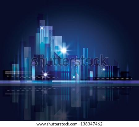 City skyline at night.. Graphical urban cityscape Raster version - stock photo