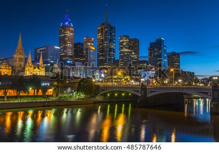 city skyline dawn sky clear sunrise Melbourne reflections riverside