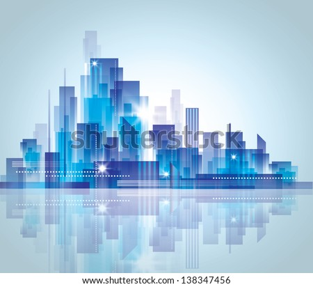 City skyline.. Graphical urban cityscape Raster version - stock photo