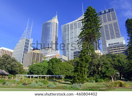 City skyline in Sydney Australia with blue sky