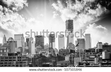 City Skyline with modern Buildings and Skyscrapers - stock photo