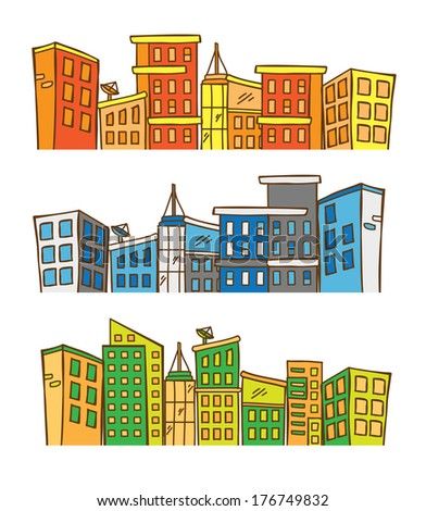 City skylines in doodle style - stock photo