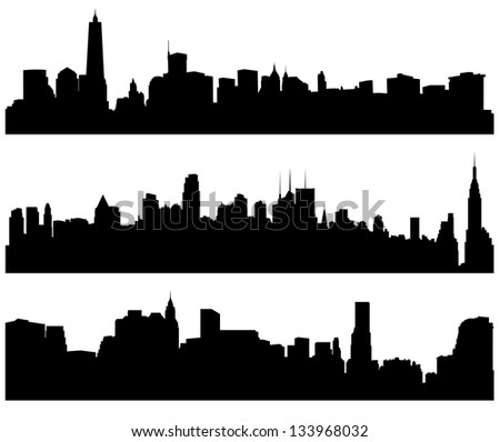 City Skylines Silhouette on white background. Raster version with clipping paths