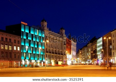 City square at night - stock photo